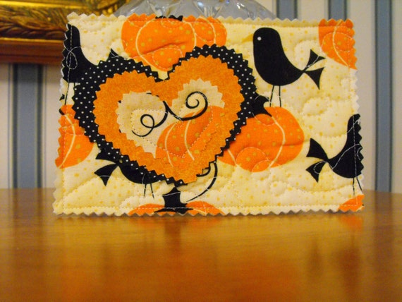 Unique Quilted Postcard - Fall - Pumpkins and Black Birds