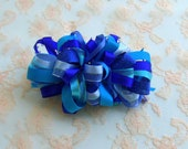 RESERVED Listing for shelze911: Blue Loopy Party Bow on a  French Barrette