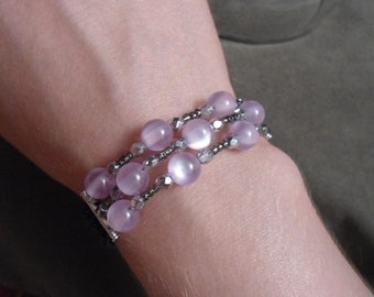 Three-strand memory wire beaded bracelet