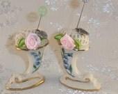 Mini Cornucopia VASE Pincushions Porcelain Felted Wool Cotton Crocheted Gold Trim