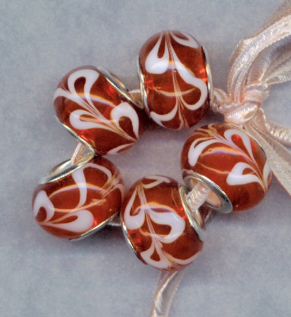 Murano Lampwork Beads Candy Apple RED with White Swirls Silver Core Glass Set 2