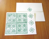 1 teal India block print recycled card