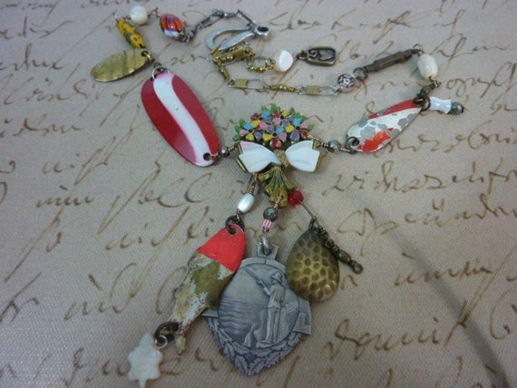 GONE FISHING lure and medal   vintage  assemblage necklace