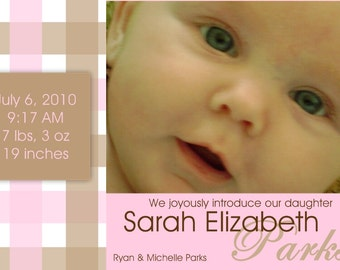 Birth Announcement- Pink and Brown Plaid- digital
