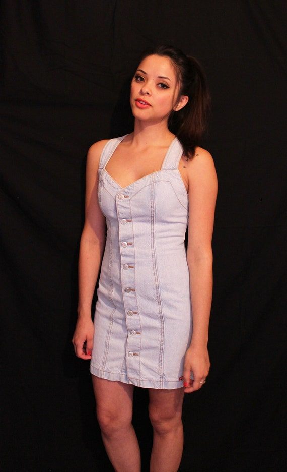 Vintage Washed Button Up Denim Body Con Dress