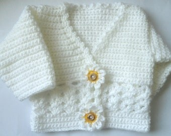 Instant Download  REtro 60's style flower  Girls Cardy  age 0-3 & 3-6 months 6- 9  9 -12 crochet Pattern - Instant Download