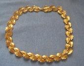 Vintage Signed Napier Double Row Leaf Necklace