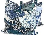 Pair of Schumacher China Blue Chiang Mai Dragon Decorative Pillow Covers 18x18, 20x20 or 22x22, Toss Pillow, Accent Pillow, Throw Pillows