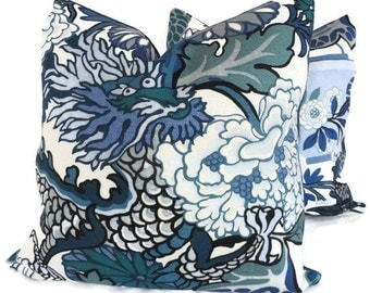 Pair of Schumacher China Blue Chiang Mai Dragon Decorative Pillow Covers 18x18, 20x20 or 22x22, Toss Pillow, Accent Pillow, Throw Pillows