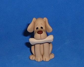 Polymer Clay Yellow Lab Dog with Bone