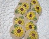 Flower Buttons Fabric Embroidered Shank Sunflower Set (6)