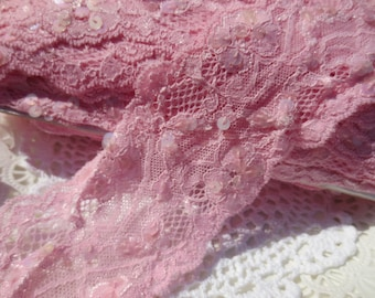 Pink Lace Sequin Trim Wide 20 yards Pastel Shabby Chic DIY Sewing Supplies
