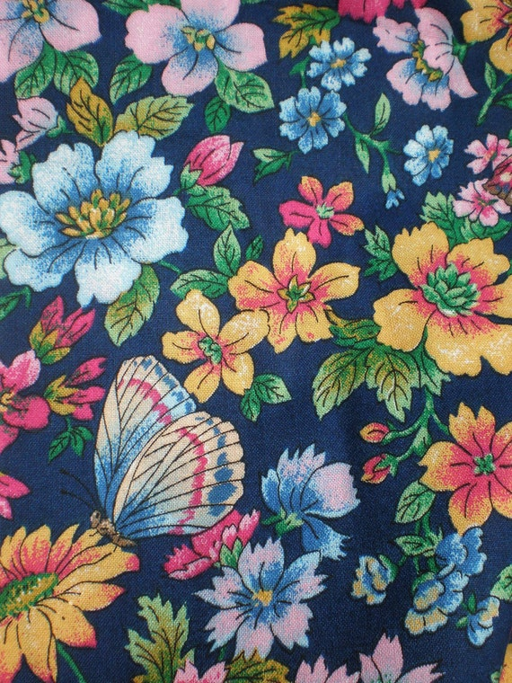 Cotton Fabric Butterfly Floral Blue by Cotton Classics 3 Yards