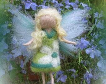 Wioa - Needle Felted Wool  fairy girl , Flower fairy, Waldorf inspired fairy doll, wool