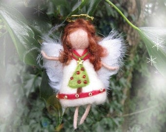 Needle Felted Wool  angel in white, red, green and gold ,  Waldorf inspired fairy doll, wool