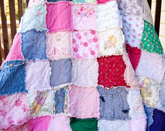 Custom MEMORY Large Throw Sized Rag Quilt, Treasure Your Loved Ones Clothing and Blankets