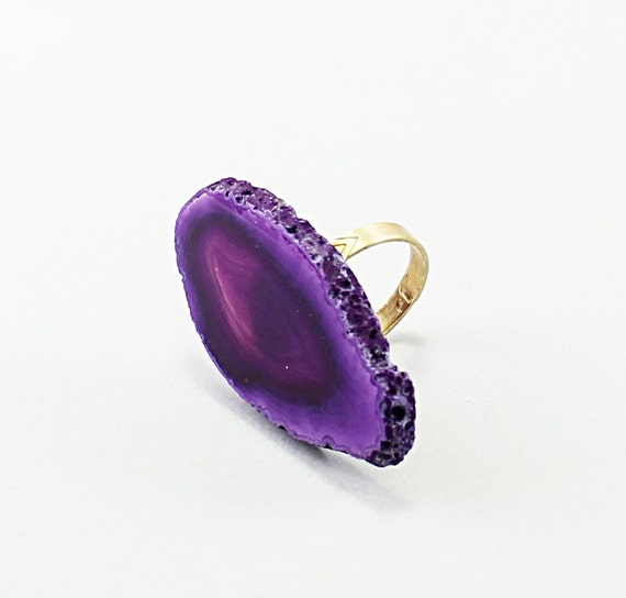 Cocktail ring agate geode big purple adjustable large jewelry women fashion