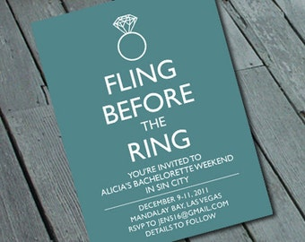 FLING before the RING BACHELORETTE Party Invitation: Digital printable file/Printing Available Upon Request