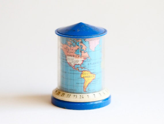 World Map and World Clock Pencil Sharpener - Eighties Novelty Stationary Made in Germany