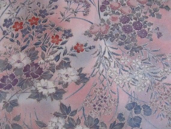 CHIRIMEN crepe Vintage Japanese Kimono Silk with floral design, vintage kimonos, japanese silk, chirimen crepe, pink, gray, red, purple