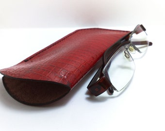 SALE Eye Glasses Case, Reading glass covers in genuine  leather red crocodile effect leather handmade ONLY ONE