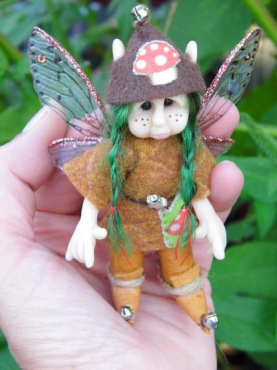 "OOAK Handmade Polymer Clay Poseable Woodland Fairy Fairie Pixie ""Fawn"" Fantasy Ooak Art Doll (RESERVED For Judy)"