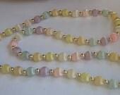 "Fabulous Vintage silk threaded bead necklace Pastel Colors 80 cm / 31"""