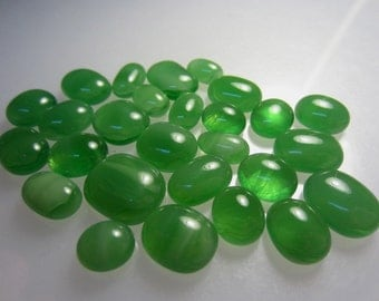 Kiln Formed Translucent Green Glass Cabochons 27 Pieces (C368)
