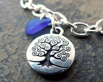 Blue Sea Glass Charm Bracelet, Silver Tree of Life Charm, Blue Hawaiian Beach Glass Jewelry, Beach Style Jewelry, Gift for Women, Beach Love