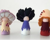 Felt mushroom figures, Handmade Waldorf Dolls, Natural dolls - Rosepe, Lupa and Nedu