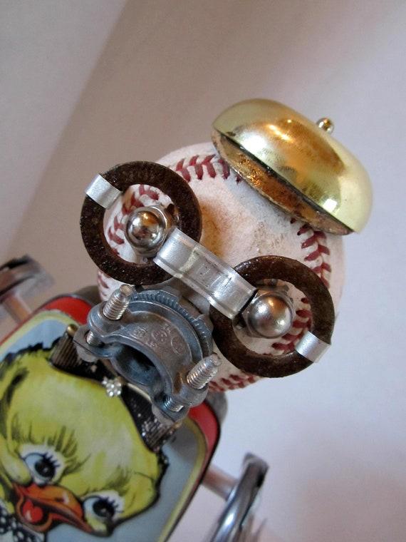 Lil Quack Bot - found object robot sculpture assemblage