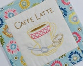 Cafe Latte Coffee Cup Coaster - Hand Embroidered Mug Rug - Coffee Lover Gift - Light Blue - Bright Colors Flowers - Teacher Thank You Gift