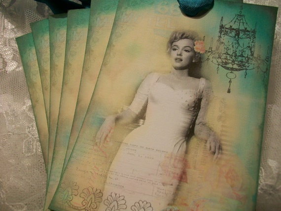 XLMarilyn Monroe French Collage Tags TG 090 ( Set of 6 )