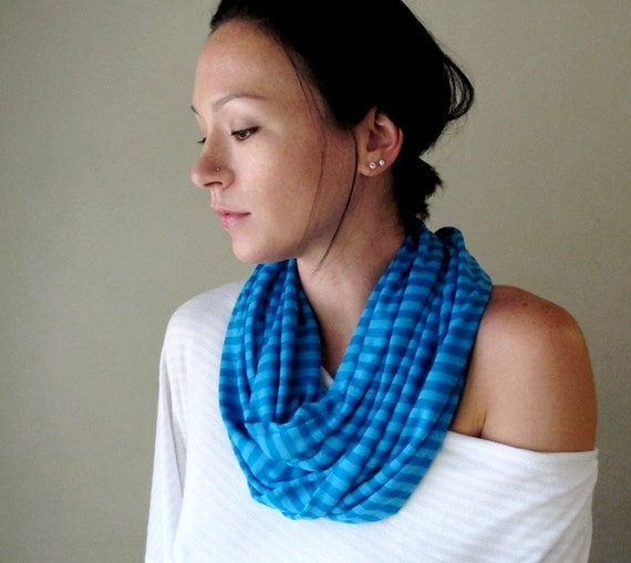 Blue Stripes Infinity Scarf - Cotton Jersey Loop Scarf - Lightweight Striped Blue Circle Scarf