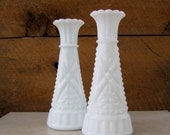 Milk Glass Vases. Set of 2. Wedding Decor. Home Decor.