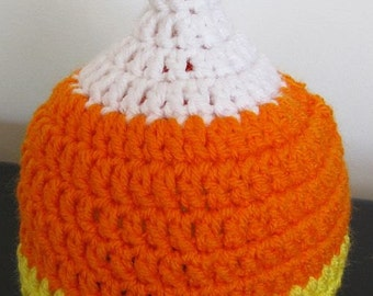 Candy corn beanie sized for 3-6 months