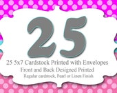 25 5x7 Professionally Printed Cardstock Invitations with Envelopes