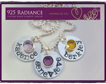 Sterling Silver Hand Stamped birthstone Mommy Necklace- SIMPLE CRYSTAL TRIO