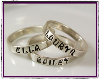 Custom Mothers Ring- Hand Stamped-  Sterling Silver Stackable Ring - Size 5-10
