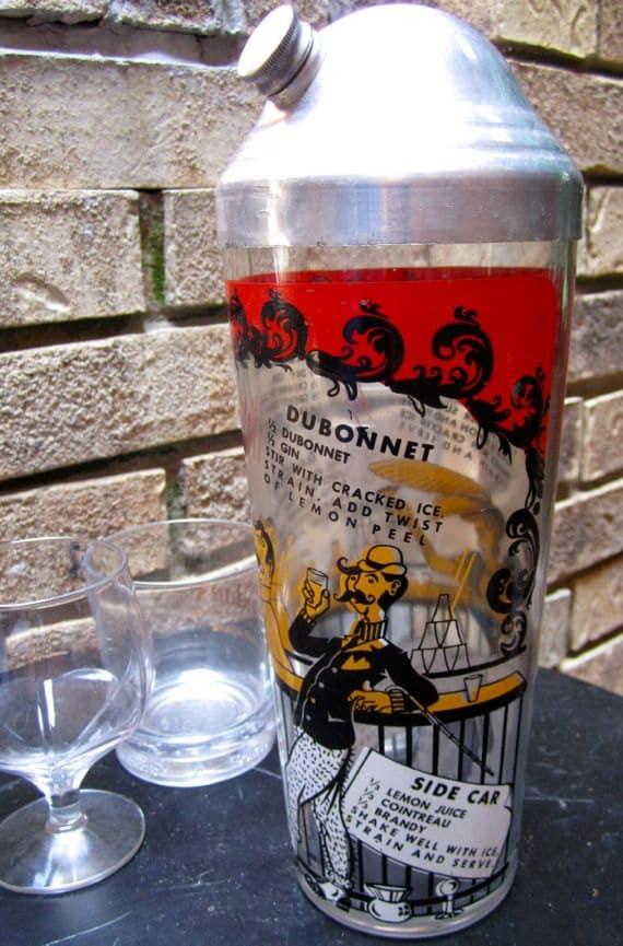 Vintage cocktail shaker mixer glass drink recipes metal lid