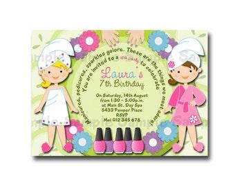 Printable Spa Party Birthday Invitation - Print it Yourself - Digital Invitation