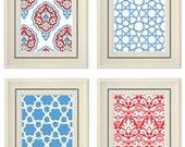 Set of Four Modern Blue/Red Art Print (Unframed)