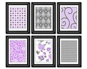 Set of Six Modern/Vintage Gray/Purple Wall Art - 8x11 Print Set - Home Decor - For Home (Unframed)