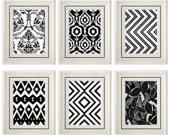 Set of Six Modern/Vintage Black/White Wall Art - 8x11 Print Set - Home Decor - For Home (Unframed)