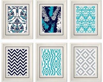 Set of Six Modern/Vintage Turquoise/Gray Wall Art - 8x11 Print Set - Home Decor - For Home (Unframed)