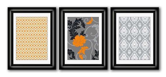 Set of Three Modern Orange/Gray Wall Art - Print Set - Home Decor - 8x11 Print (Unframed)