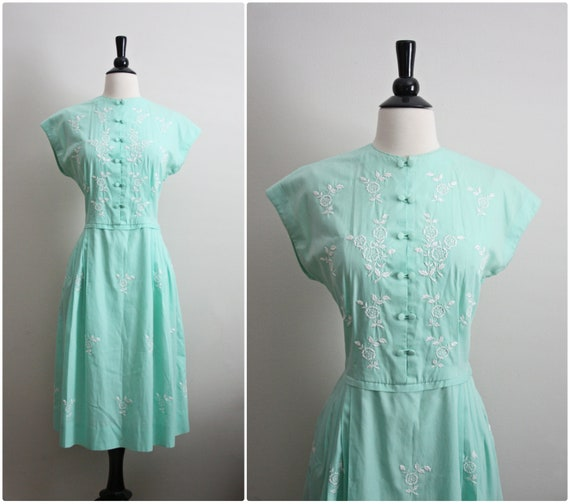 50s Asian Mint embroidery Day dress. Size S/M