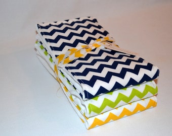 Baby Boy Burp Cloths - Boutique Boy Chevron Burp Cloth Set - Blue Yellow Green Chevron - Sweet Little Guy