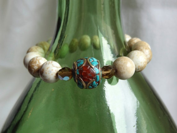 White Turquoise with Nepalese bead