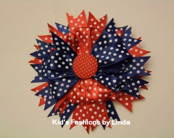 Red White Mini Dots/Navy Mini Dots Hairbow